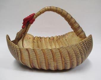 Vintage Armandillo Basket, Taxidermy Animal Skin Oddity Shell Bowl