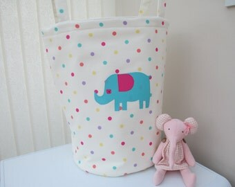 Toy/laundry storage bag. Room tidy. Nursery storage. Playroom storage. Elephant toy storage bag.