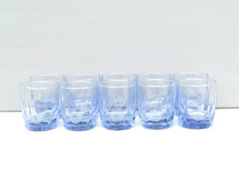 Crystal liqueur glasses, blue crystal, crystal glass set, set of glasses
