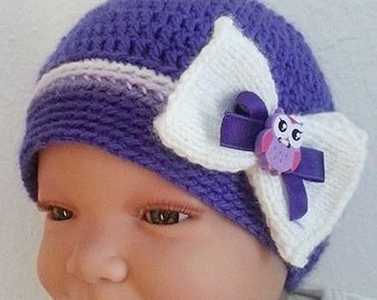 Baby Hat new born Hat Cap purple white with loop