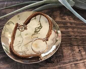 MINIMALIST LEATHER Bracelet // Minimalist Jewelry // Salvaged Leather // Fitted Bracelet