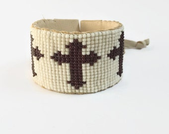 Leather Cuff Bracelet - Brown - Leather Cuff - Cross