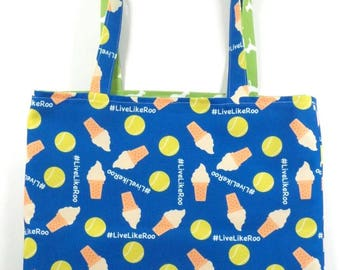 Live Like Roo Blue REVERSIBLE Everyday CANVAS Tote Bag