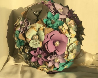 Kusudama and roses paper bouquet with map and diamanté detail