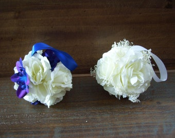 Custom Designed Small Off White Rose Kissing Ball, Flower Girl,Pomander,Rustic Wedding