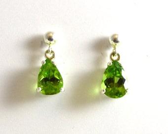 Peridot Drop Earrings - Pear