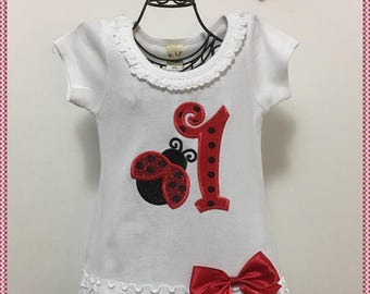 SAMPLE SALE; 12 Month LadyBug 1st Birthday Dress; Ready to Ship; Will Personalize In Red Or Black Glitter