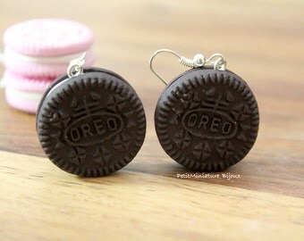 Earrings Oreo-cookie-Miniature Food Jewelry Fimo-biscuit 25mm