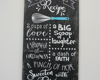 Kitchen Wall Decor Dining Room Wall Decor Wood Kitchen Sign Our Family Recipe Sign Distressed Wood Wall Decor Mothers Day Gift