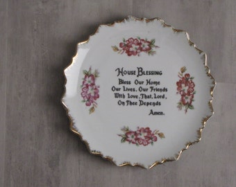 Vintage China Plate - House Blessing Hanging Plate - pink, floral