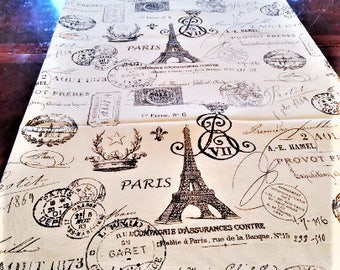 Table Runner, Black Script Table Linen, French Eiffel Tower, Table Cloth/Scarf, French, Banquet, 16''x 84'' Buffet Runner, Dresser Scarf