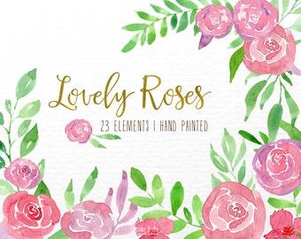 watercolor flower clipart, watercolor roses, pink roses, watercolor flower clip art, Wedding Floral Watercolor Clip Art,Watercolour floral