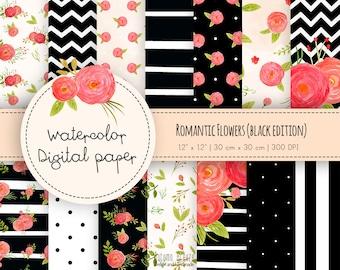Floral digital paper, watercolor floral digital paper, black digital paper, wedding flowers, romantic digital paper, digital paper pack