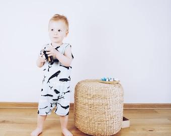 baby onesie organic cotton mint,kids summer onesie blue,tank romper whale,organic playsuit boy,sleeveless onesie,organic tank romper,jammie