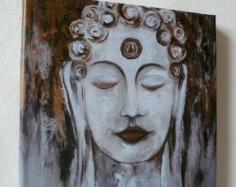 Buddha print on canvas/wooden frame