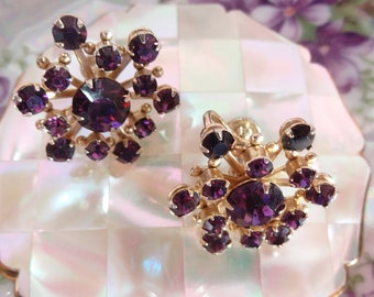 Vintage Earrings Purple Rhinestone