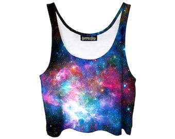 Space Crop Top - Galaxy Festival Fashion - Blue Purple Stars - Pastel Goth Belly Tank Top - EDM Shirt