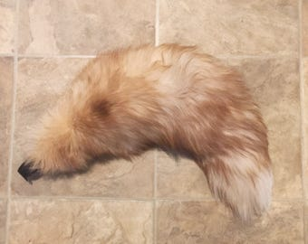 "LARGE 21–22"" Strawberry Blonde Beige Fox Fur Tail"