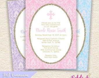 First Holy Communion or Baptism Invitation - Choose Color - Digital, Printable PDF or JPG Design - by Celebration Lane