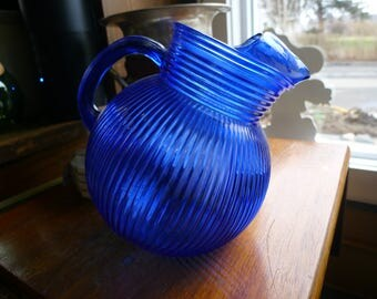 Blue glass Hazel Atlas tilt pitcher