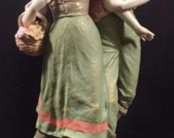Royal Dux Couple Large Porcelain Figurine-Pristine Condition-No flaws, 1860-1919
