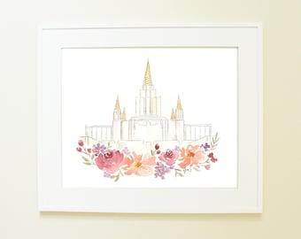 Oakland, California LDS Temple Watercolor Print