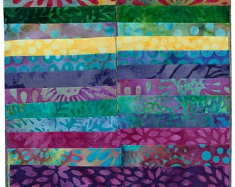 "Island Batik Sweet Nectar Purple Green Batiks Jelly Roll Strips Pack 40 2.5"" Strips of Fabric"