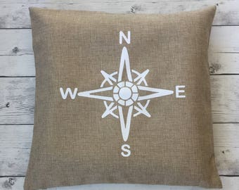 Decorative nautical pillow cover, compass, beach decor, nautical decor living room