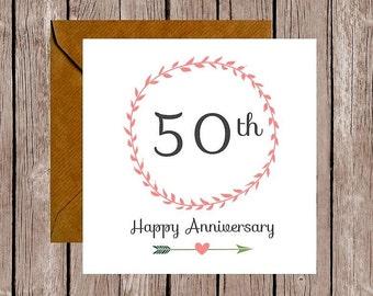 Wreath 50th Anniversary Card