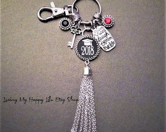 Live Well Laugh Often Love Life, GRADUATION KEYCHAIN, Cap, Year, Crystal, Pendants, SCHOOL Colors Lobster Clasp Key Ring Silver Chain Tassel