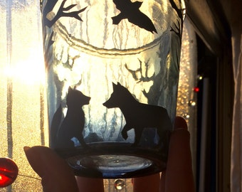 Foxes at dusk candle/light jar
