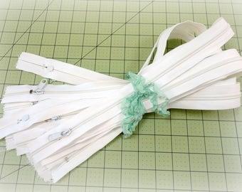 24 Inch Zippers ~ 12 One Dozen White Nylon