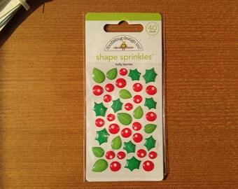 Doodlebug Design inc.™ Shape sprinkles™ -- holly berries (40 count)