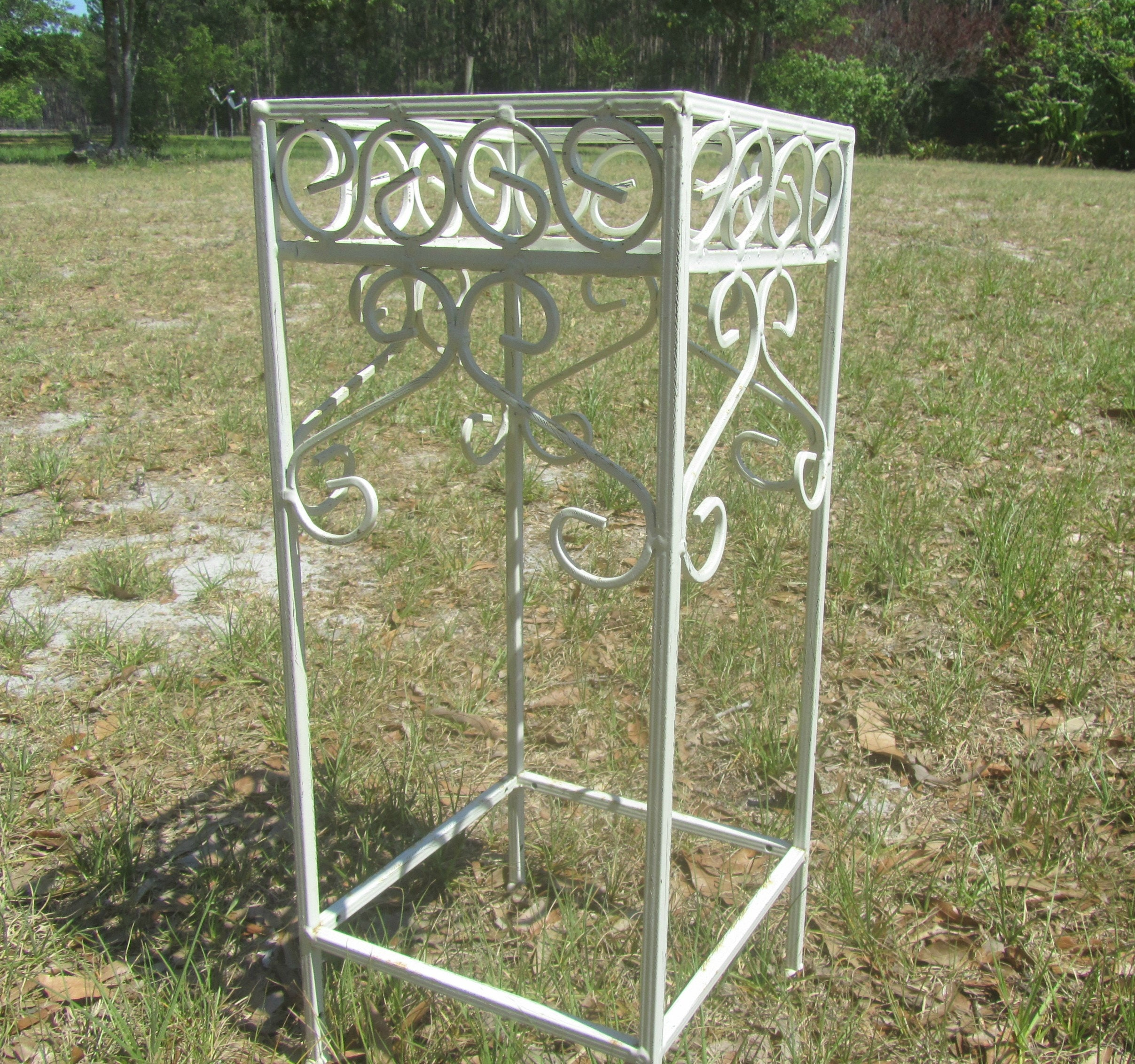 Shabby Chic Wrought Iron Plant Stand Planter French Country