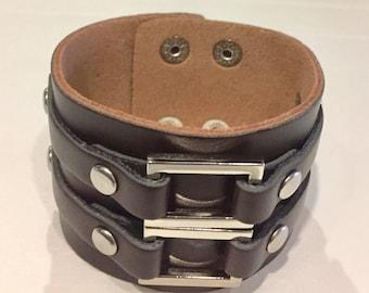 Brown Leather Bracelet Cuff Wristband