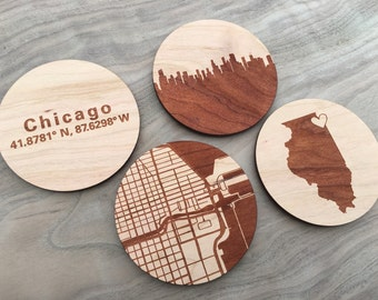 5 Years Together, City Map Coasters, Wood Anniversary, fathers day Gift for him, Custom Coaster Set, Wedding Coasters, Personalized Coaster