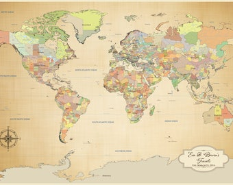 Anniversary gift idea, Canvas World Map, personalized push pin Map, world map poster Cotton canvas, long distance love, 24 x 36 inches