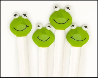 "Frog Swizzle Sticks, Fused Glass Cocktail Stirrers, Set of Four 8"" Stir Sticks, Bar Ware, Hostess Gift, Gift for Frog Lovers, Drinkware"