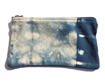 Shibori Zippered Pouch, Indigo Pen Case