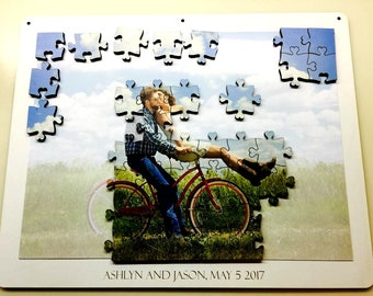 Unique Wedding Guest Book Puzzle from Your Photo - Magnetic and Jigsaw - Alternative Guestbook - Engagement - Gift - Laser Cut