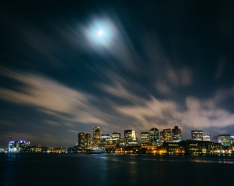 The Boston skyline seen from LoPresti Park at night, in East Boston, Massachusetts. | Photo Print, Stretched Canvas, or Metal Print.