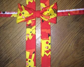 Pokemon/pikachu/ video Game/nintendo tie/boy/toddler /pictures/ Birthday Parties! bow tie suspender set/child outfit necktie