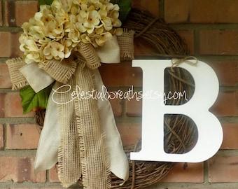 Spring wreath - hydrangea wreath - grapevine wreath - mothers day wreath - personalized wreath - summer wreath