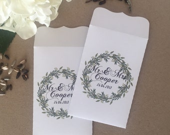 10 Wedding Favour White Seed Packet Envelopes Personalised ** NEW **