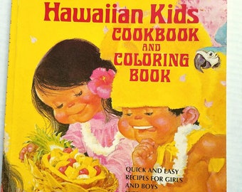 1993 Hawaiian Kids Cookbook and Coloring Book by Barbara Bradley. Recipes for kids. Kids cooking. Hawaii.