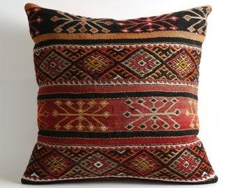 anatolian pillow, 20x20 kilim pillow, decorative pillow, cushion cover, vintage pillow, home decor, turkish kilim pillow, turkish pillow