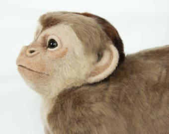 Made to Order Life-Sized Needle Felted Capuchin Monkey: Custom needle felted animal sculpture