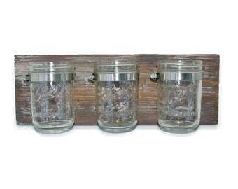 Ball jars bathroom toiletries storage, Bathroom decor, Barn wood look finish, Farmhouse style, Custom colors and sizes