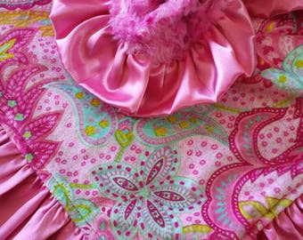 Pink Paisley Minky Blanket with Hot Pink Minky and Satin Ruffle
