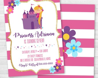 Princess Birthday Invitation - Pink or Purple
